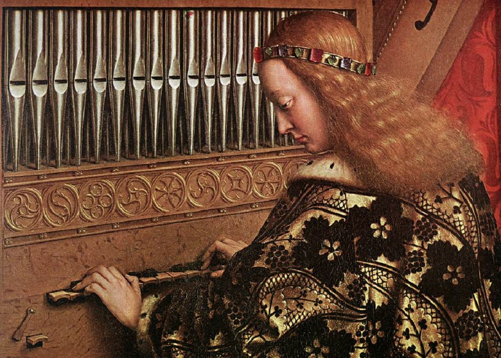 Uniquely English: Gibbons and Tomkins. Ghent Altarpiece, Jan van Eyck: Detail, Angel Musicians
