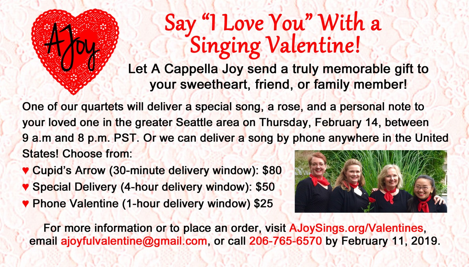 A Cappella Joy Singing Valentines 2019
