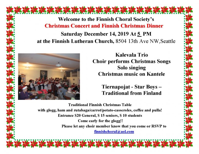 Finnish Choral Society's Christmas Concert/Dinner