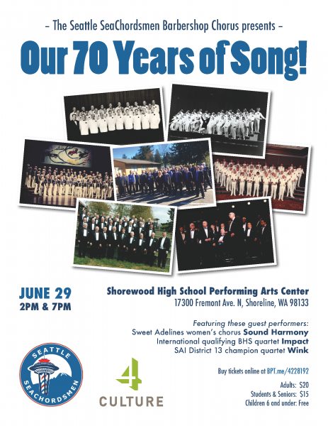 Our 70 Years of Song!. Come help  us celebrate!!