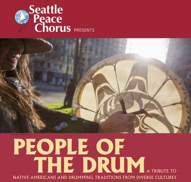 People of the Drum. Guest artist Sondra Segundo-Cunningham holding a drum that she designed