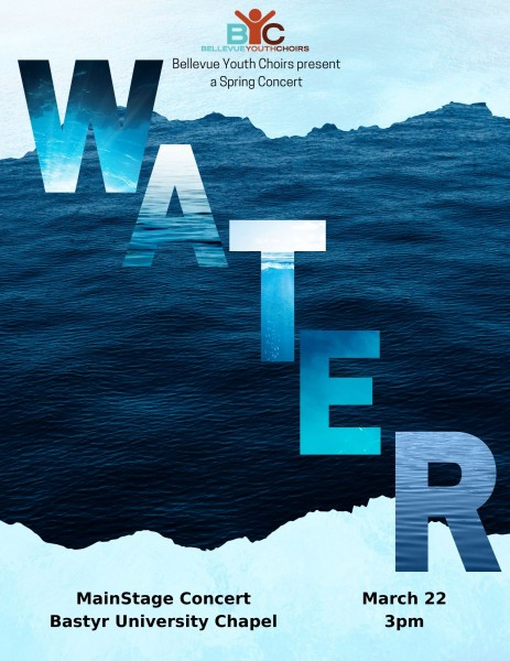"Water. Program cover in blue with text ""WATER"" diagonally placed on an image of the ocean."