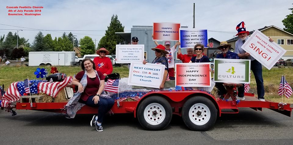 Cascade Foothills Chorale. Enumclaw 4th of July Parade, 2018