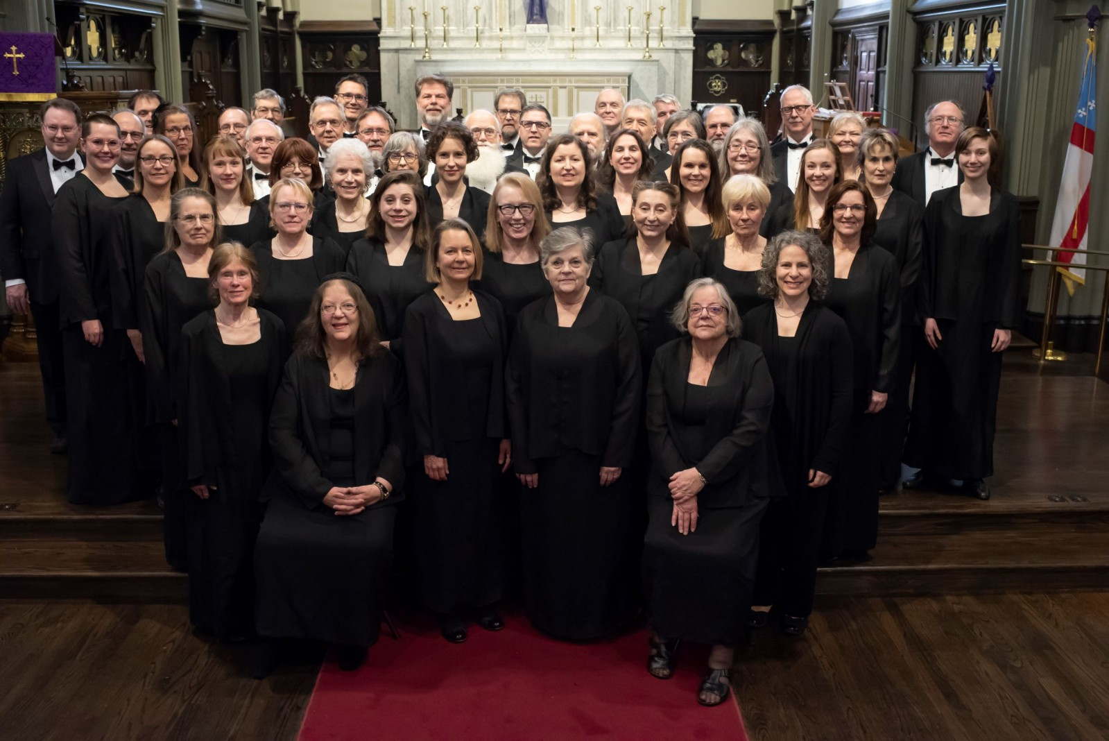"Seattle Bach Choir. Before our ""All Night Vigil"" concert, March 2019. Photo by Pinehurt Photography."