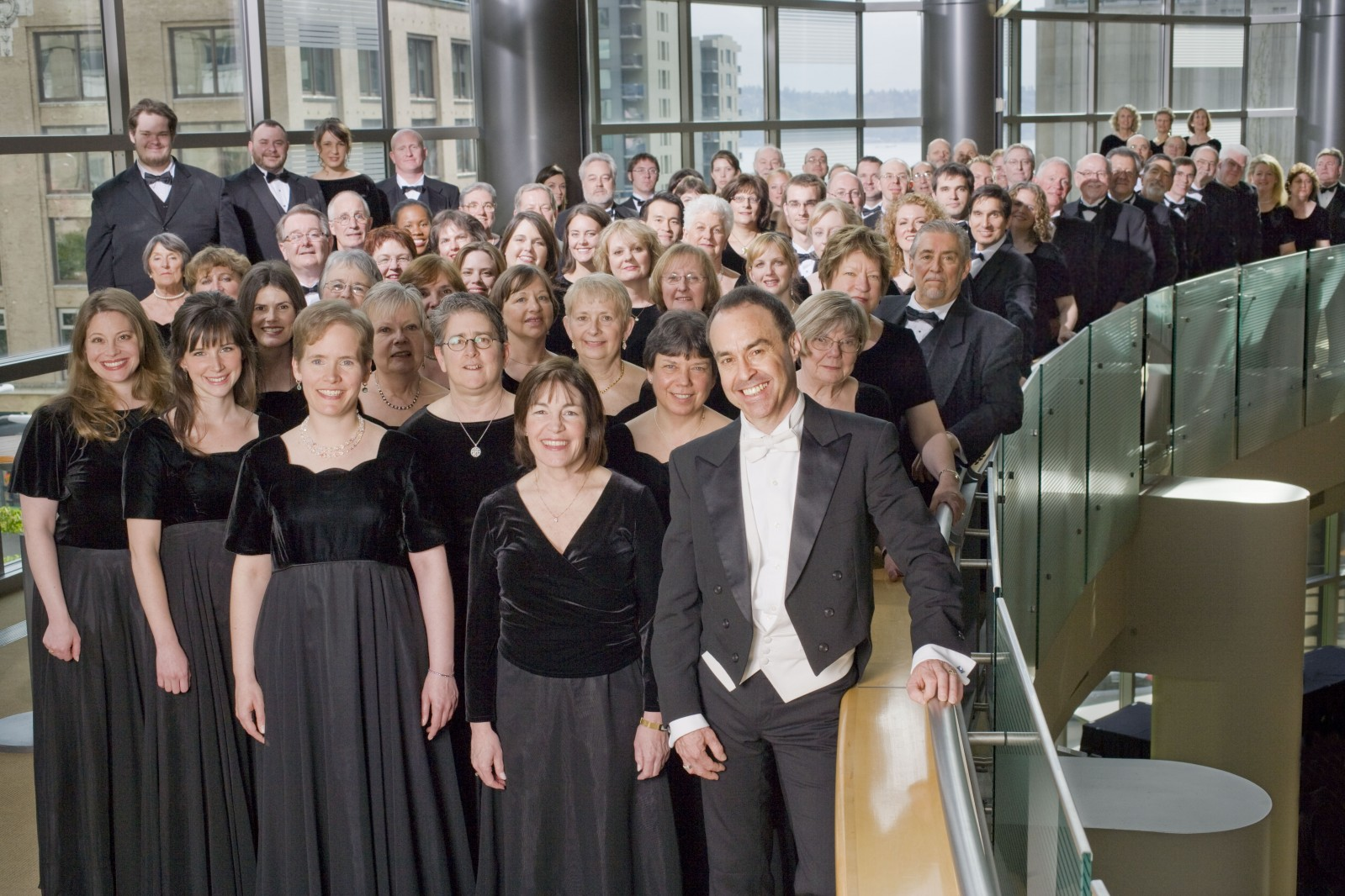Seattle Choral Company. In the Grand Lobby at Benaroya Hall. Photo by Geoff Manasse.