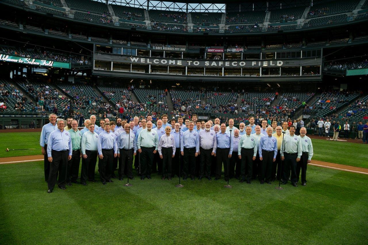 Seattle SeaChordsmen Barbershop Chorus. Singing the National Anthem at a Mariners game, September 2016